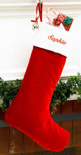 red velvet personalized christmas stocking with white velvet cuff