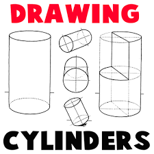 how to draw cylinders and drawing shaded cylindrical objects with