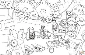 steampunk gears coloring page free printable coloring pages