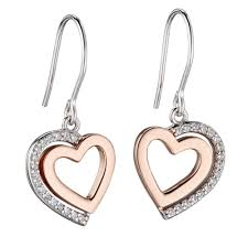 hook earrings fiorelli silver cz pavé gold plated heart hook earrings