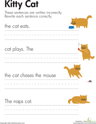 fix the sentences kitty cat the sentence first grade and first