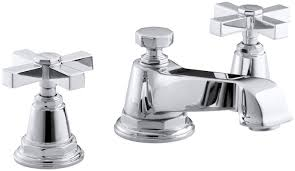 kohler pinstripe pure widespread bathroom sink faucet with cross