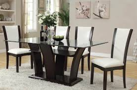 malik espresso wood glass leather like pu dining table set