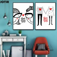 Bedroom Cartoon Aliexpress Com Buy Cartoon Boy Couple Art Canvas Poster
