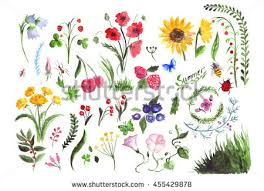 hand drawn watercolor set simple sketches stock illustration