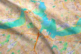 Hummingbird Map Boston Watercolor Map Fabric Fabric Cityette Spoonflower