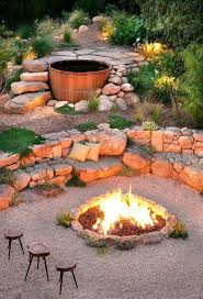 outdoor living cool outdoor seating idea with round stone