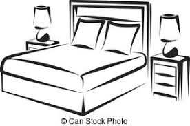 Black And White Bed Clipart For Bedroom