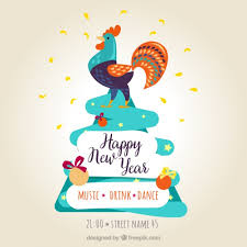 happy new years posters happy new year poster with a colorful rooster vector free
