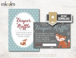 oh baby fox diaper raffle tickets and table sign for a