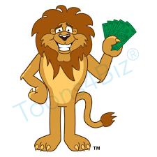 lion mascot holding money clip art graphic