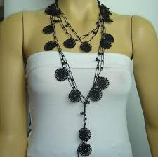 crochet necklace black images Black beaded crochet necklace black lariat crochet oya lace JPG