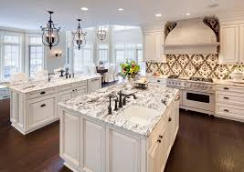 White Kitchen Cabinets Dark Wood Floors by Furniture White Ice Granite With Crystal Chandelier Also Dark