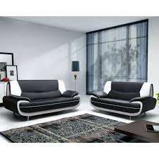 canape simili cuir 2 places ensemble de canapac 32 pvc noir et blanc canape simili cuir 2 places canapac my gris fair t info