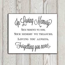 wedding quotes printable in loving memory of print memorial table wedding memorial sign