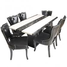black marble dining table set black beauty 6 seater marble top dining table set woodys furniture