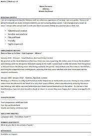 exles of how to write a resume waiter resume exle pertamini co