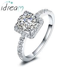 silver diamond rings cubic zirconia diamond engagement ring for women sterling