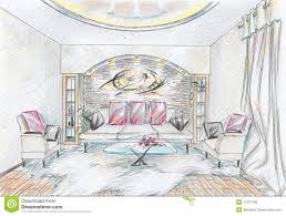 sketch of interior of drawing room royalty free stock photos