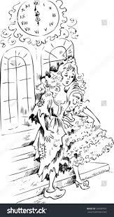 cinderella midnight wearing ball dress glass stock vector