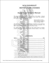 1978 chevrolet motorhome chassis owner u0027s manual reprint