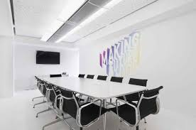 White Conference Table Simple Black Painted Wooden Meeting Table Mixed White Upholstered