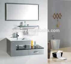 unique design wall hung bathroom vanity cabinet with stainless