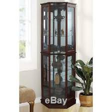 Bookshelves Glass Doors by Curio Cabinet 5 Shelves Glass Doors Lighted China Display Wood Walnut