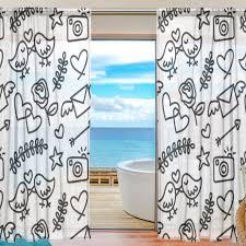 Sheer Door Curtains Aliexpress Com Buy Black And White Sheer Door Curtain Panels