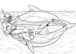 man and dolphins animal coloring page for kids animal coloring