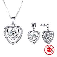 silver pendant necklace set images 2018 dancing diamond 925 silver double heart cz earrings silver jpg