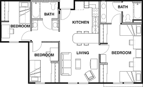 floor plans 3 bedroom 2 bath floor plans vista co norte student apartments in