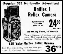 vintage newspaper advertising uniflex tlr camera