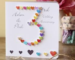 3rd wedding anniversary 3rd anniversary card etsy