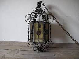 Stained Glass Light Fixtures Dining Room by Vintage Wrought Iron Light Vintage Hanging Light Stained Glass