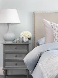 light blue table l bedroom blue and gray bedroom beige linen nailhead headboard table