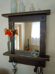 Mirror With Shelves by Reclaimed Wood Rustic Craftsman Style Mirror With Shelves And