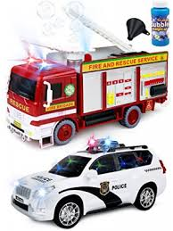 toy police cars with working lights and sirens for sale kiddie play battery operated bump and go toy bubbles fire engine