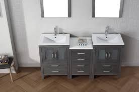 Bathroom Vanity Table Virtu Usa Dior 66 Double Bathroom Vanity Set In Zebra Grey