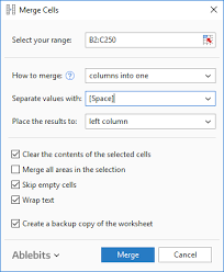 combine multiple text cells in excel with merge cells wizard