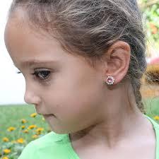flower girl clip on earrings swarovski white opal