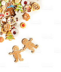 christmas cookies top corner frame border on white background