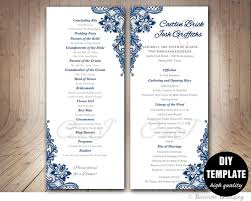 wedding program outline template navy blue wedding program template instant