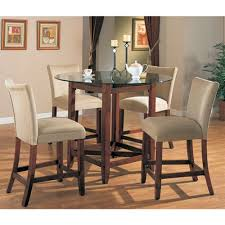 Counter Height 5 Piece Dining Set In Cherry Finish With Round Glass
