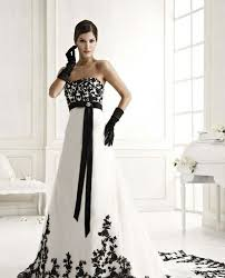black and white wedding dresses design floor length white and black wedding dress