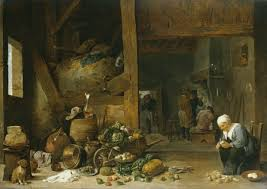 Interior Of A Kitchen The Interior Of A Kitchen With An Old Woman Peeling Turnips David