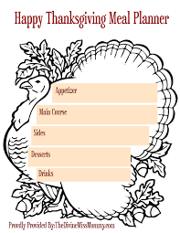 thanksgiving lists printables