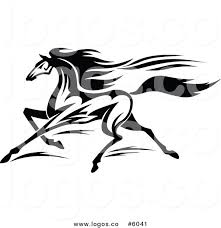 free logo design horse royalty free vector of a logo of a black and white horse running by