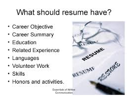 should resume have objective principles of written communication what should resume have
