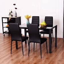 Costway  Piece Dining Set Tempered Glass Table And  Chairs - Kitchen glass table